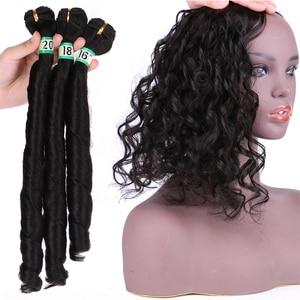 Image 2 - 自然な黒 #2 春毛束 16 20 インチ利用可能 3 ピース/ロット人工毛エクステンション耐熱繊維の毛