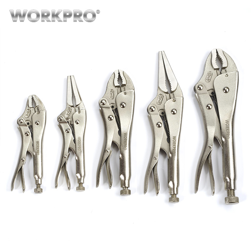 WORKPRO 5PC Pliers Set CRV Locking Pliers curved jaw pliers long nose pliers itechor 200mm 8 inch curved nose pliers household safety nail pliers puller hand tool black handle yellow
