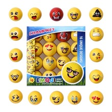 2019 New Champkey Deluxe Emoji Golf Balls Set of 16,Premium Dual-Layer Professional Practice Balls.