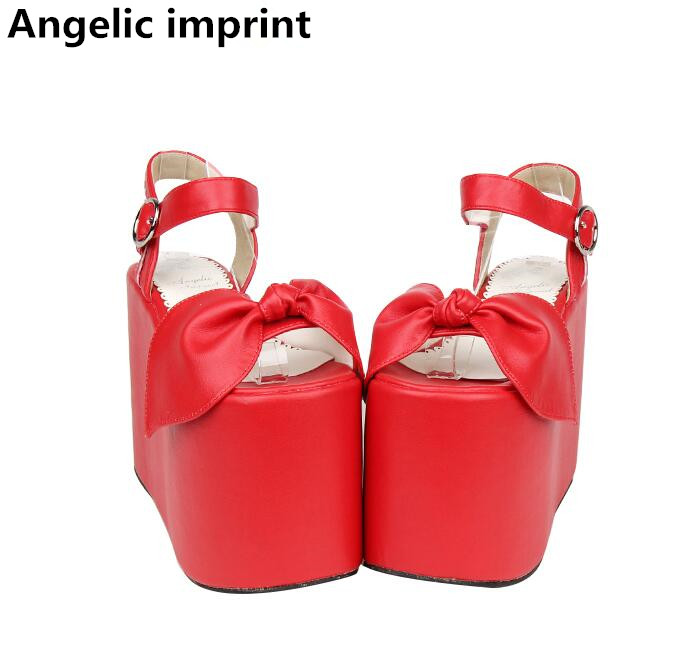 Angelic imprint woman mori girl lolita cosplay shoes lady super high wedges heels pumps women princess dress sandals 33 47 13cm-in High Heels from Shoes    1