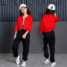 Children Hip Hop Dance Costume Red Jazz Suit Long Sleeve Street Practice Dancing Clothes Modern Stage Performance