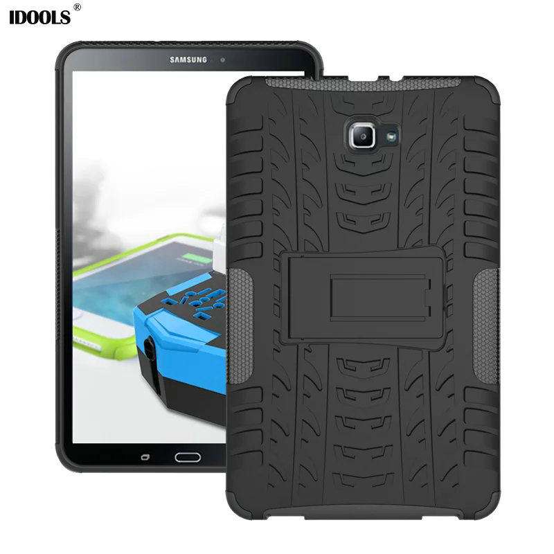 For Samsung Galaxy TAB A 10.1 T580 Case Droop resistant Hard Plastic Armor Back Cover Tablet Laptop Case Stand Function IDOOLS del luxury ultra thin armor hard back case cover for samsung galaxy note 8 td905 dropship