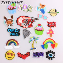 ZOTOONE Iron on Patches for Clothing Decoration Sequin Flower Tree Letter Rose Pineapple Embroidered Patch Clothes E