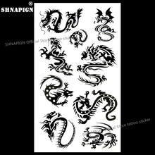 SHNAPIGN Black Dragon Totem Temporary Tattoo Body Art Arm Flash Tattoo Stickers 17x10cm Waterproof Fake Henna Painless Sticker