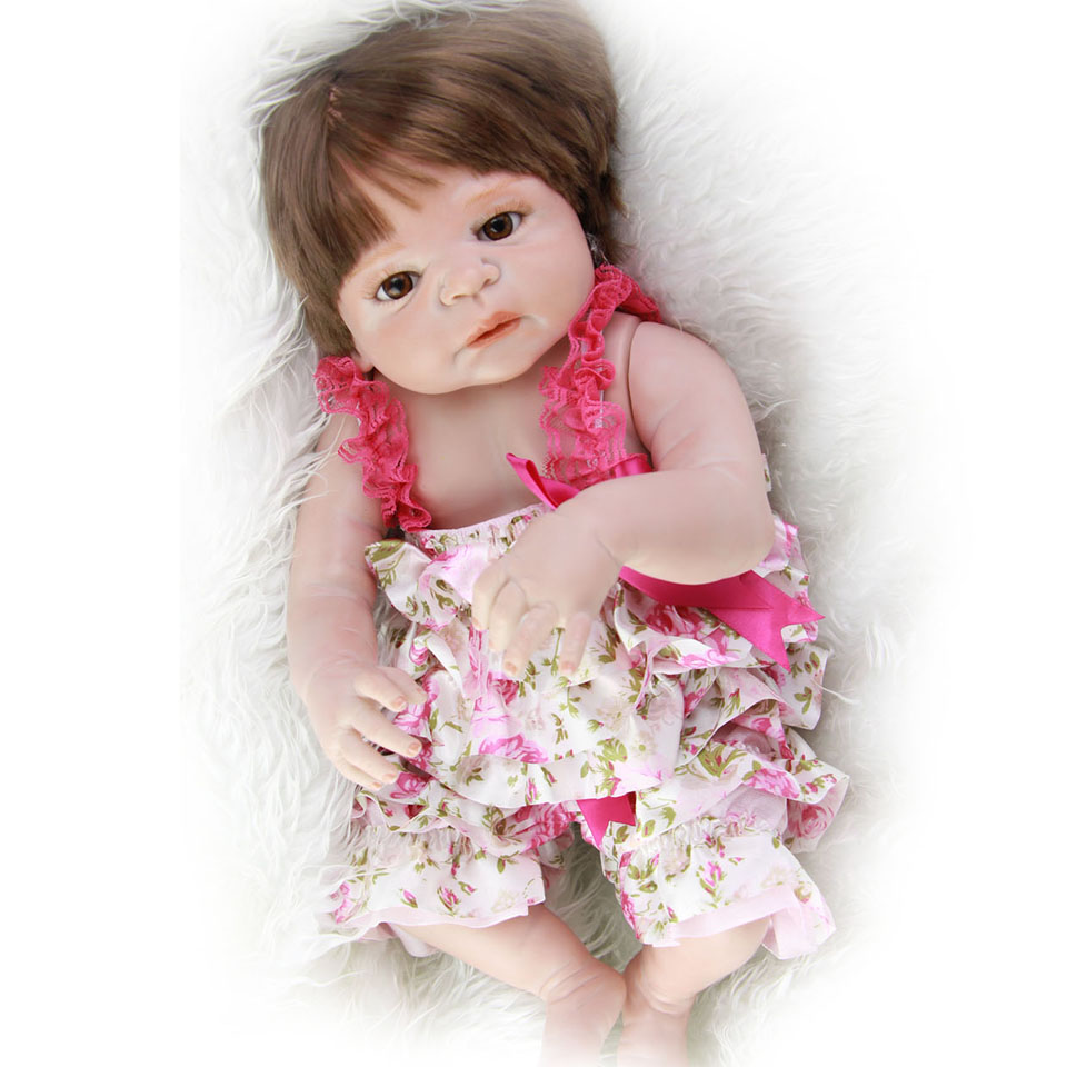 23'' Full Silicone Vinyl Reborn Baby Dolls Lifelike Princess Girl Baby Alive Dolls So Truly Reborn Can Bathe kids Birthday Gifts full silicone reborn dolls