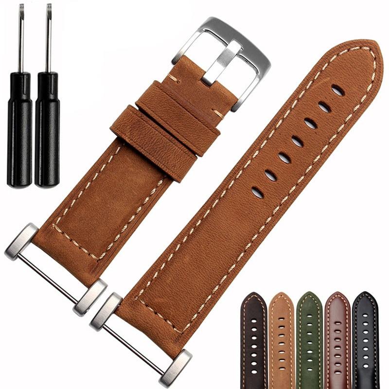 купить 24mm Genuine Leather Watch Replacement Band Strap+2pc Lugs Adapters For Suunto Core Yellow&Black&Coffee&Green&Brown Correa Reloj по цене 985.66 рублей
