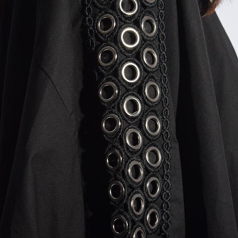Decoration Irregular Metal Coat Street New xitao Female Single Ljt4051 Ljt3535 Loose Breasted Autumn Women 2018 Europe Black Trench Ring FAv7pzwq6