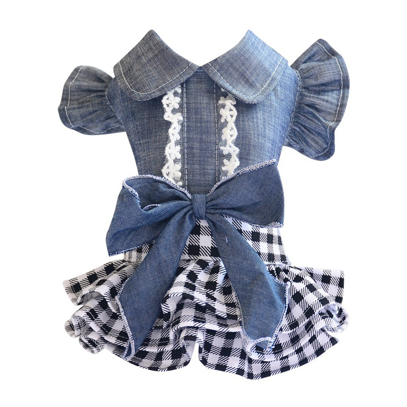 Spring Pet Dog Clothes Dog Denim Dress Jeans Skirt Small Dog Dress Puppy Clothes Chihuahua Yorkies Teddy Pet Clothing 8