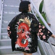 Bella philosophy японский стиль Японский рукав летучая мышь кимоно принт Винтаж Harajuku стиль блузка волны и ветра рубашки с драконом