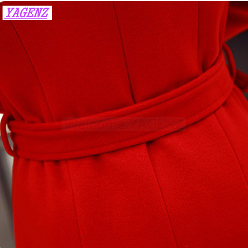 Slim Femmes Pardessus B361 Tempérament Manteau Hiver Coréennes Nouveau Veste Demi Laine Haut red col Cravate De Black Longue Exquis Automne xXTqva0