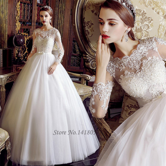 Vestido De Noiva Princesa 2017 Vintage Wedding Gowns Long Sleeve Dress Lace Pearls Ball Gown