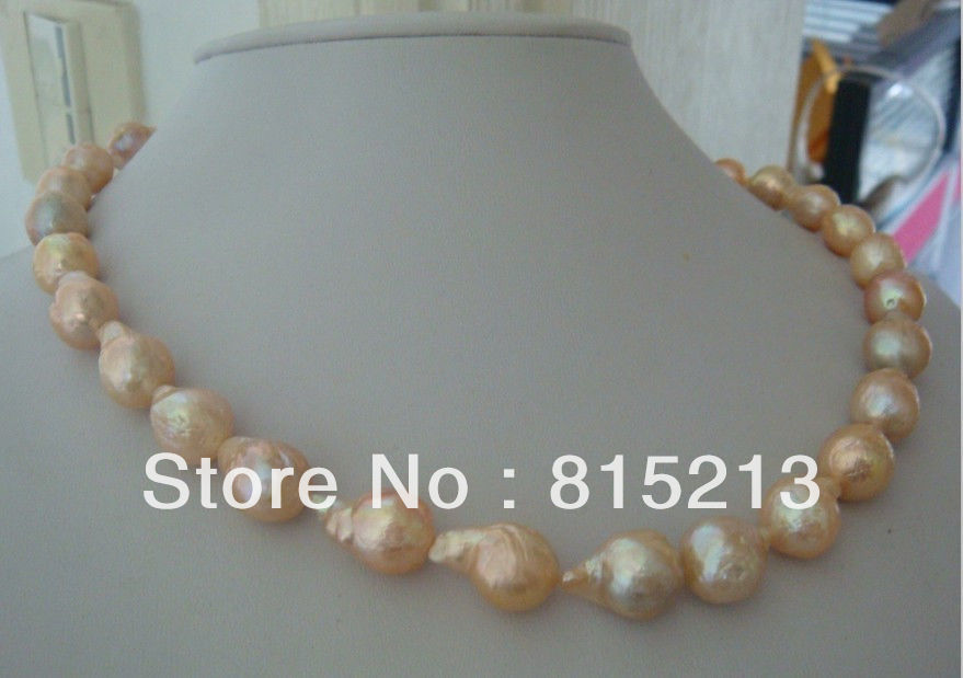 ddh004565 AAA 12-17mm natural south sea gold pink pearl necklace 18inch 14KG