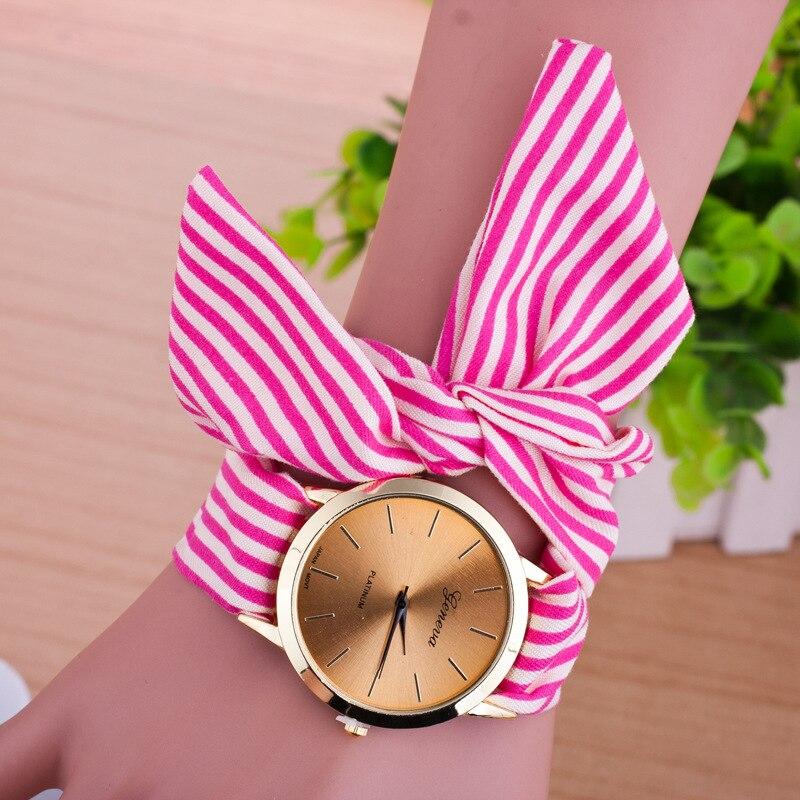Women Geneva floral Cloth Band Quartz Analog Dress Belt Bracelet Wrist Watch