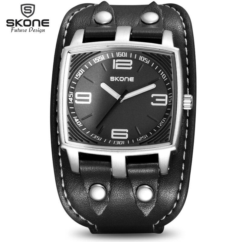 Prix pour SKONE Punk Style Marque De Luxe Militaire Montres Hommes Quartz Analogique 3D Visage En Cuir Horloge Homme Sport Montres Relogios Masculino