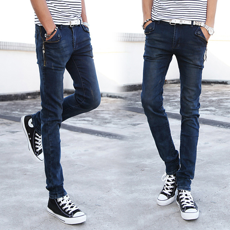 Aliexpress.com : Buy 2015 zip pocket jeans male Slim jeans feet