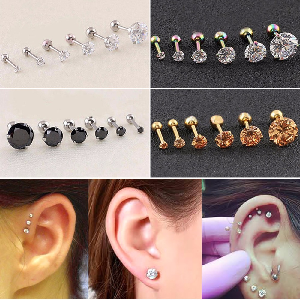 CZ 3 PRONG TRAGUS CARTILAGE STAINLESS STEEL STUD EARRINGS PIERCING JEWELRY 2 PCS