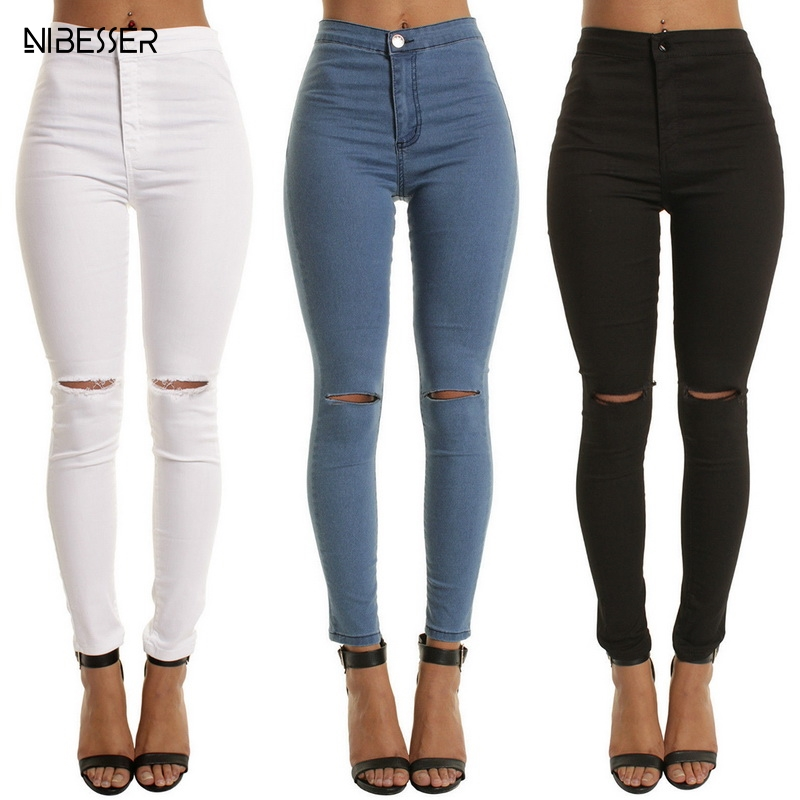 NIBESSER High Waist Casual Skinny Jeans For Women Hole Vintage Girls Slim Ripped Denim Pencil Pants High Elasticity Black Blue