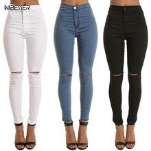 NIBESSER High Waist Casual Skinny Jeans For Women Hole Vintage Girls Slim Ripped Denim Pencil Pants High Elasticity Black Blue
