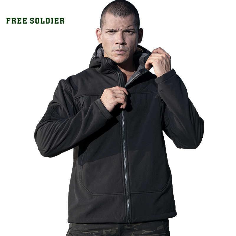 ฟรีทหารกีฬากลางแจ้งเดินป่ายุทธวิธีผู้ชายทหารขนแกะอบอุ่น softshell ผ้า