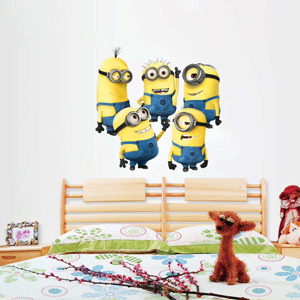 <font><b>200</b></font> pcs/lot Despicable me 2 cute minions wall stickers for kids rooms decorative adesivo de parede removable pvc wall decal image