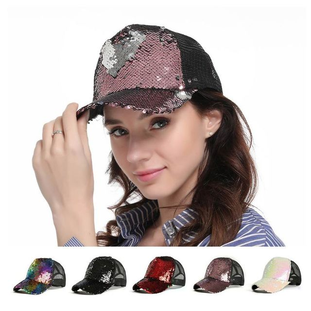 Womens Unisex Messy Bun Ponytail Baseball  Tennis   Cap Reversible Magic Glitter Sequins Contrast Color Mesh Back Adjustable  3
