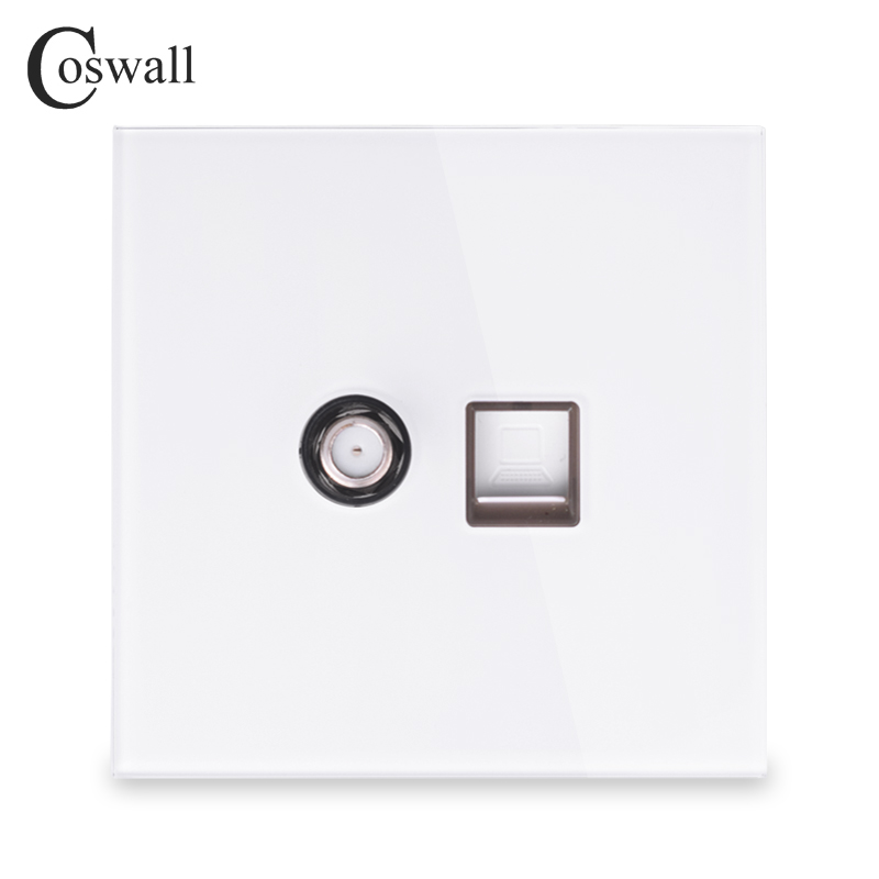 Coswall 2018 New Arrival Crystal Tempered Glass Panel Wall Satellite Socket With Computer Internet RJ45 Data Outlet White