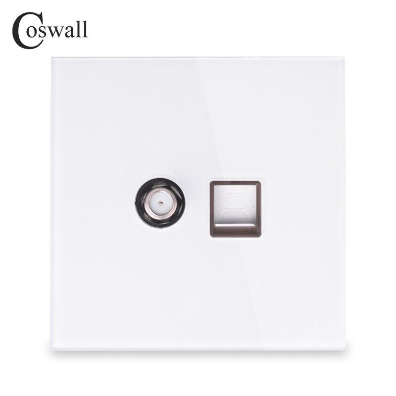 Coswall 2018 Nova Chegada de Cristal de Vidro Temperado Painel de Parede Tomada Por Satélite Com o Computador À Internet RJ45 Tomada De Dados Branco