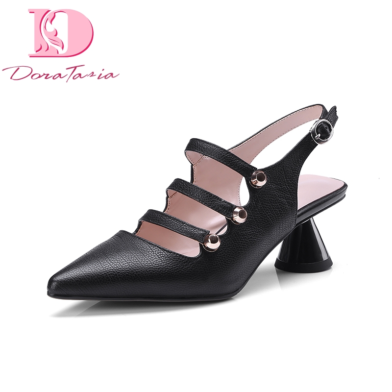 DoraTasia 2018 Top Quality Big Size 34-43 Pointed Toe Genuine Leather Summer Pumps Shoes Women Sexy Party Woman Shoes doratasia plus size 36 43 cow genuine leather woman shoes pointed toe wedges high heel women shoes summer pumps