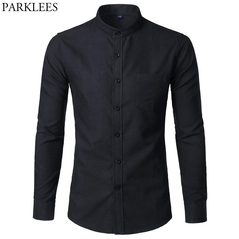 Men's Oxford Slim Fit Dress Shirt Brand Mandarin Collar Long Sleeve Chemise Homme Casual Buisness Office Shirt With Pocket Black