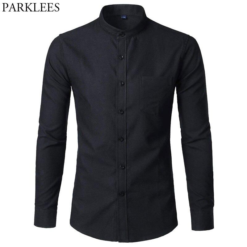 Men's Oxford Slim Fit Dress Shirt Brand Mandarin Collar Long Sleeve Chemise Homme Casual Buisness Office Shirt With Pocket Black