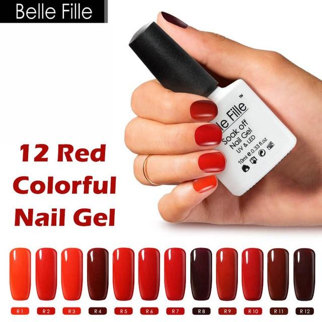 Belle Fille 10ml Wine Rose Red Color Soak Off UV Gel Nail Polish Varnishes