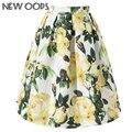 Nueva uy 2016 nueva llegada midi faldas para las mujeres vintage floral impreso oscilación plisada evasé falda saias femeninos a1603022