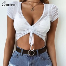 6a13357b6f2 CWLSP 2018 New Arrival solid white T-Shirt V-Neck Crop Tops T-shirt Women  Summer Skinny Casual Short Sleeve Tie up Front QA2559
