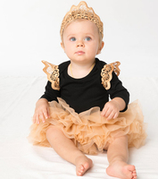 Free Shipping Wholesale Newest Toddlers Full Sleeve Wing Bodysuits Hair Band Bow Skirt 3pc Set