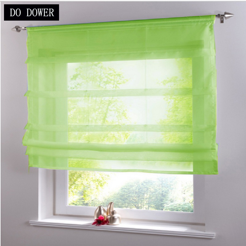 Short Kitchens Tulle Curtains Solid Transparent Sheer Cloth for living room Kitchen Burnout Tulle Voile Fabric Window Treatment