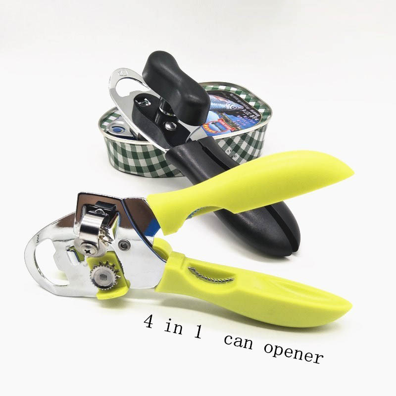 4 In 1 Can Opener Multi-function Portable Manual Metal Non-slip Handle Bottle Openers Party Bar Accessories Durable Kitchen Tool