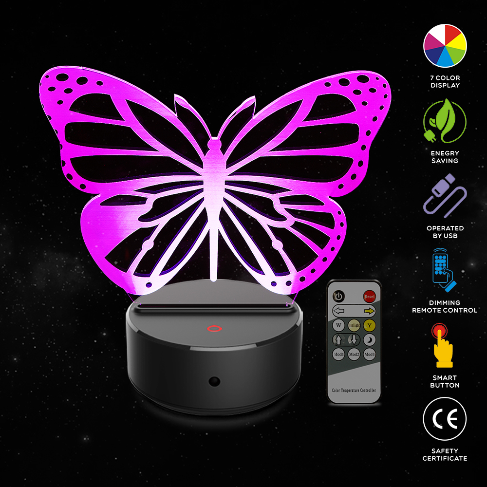 Butterfly Shape 3D Illusion Lamp 7 Color Change Touch Switch LED Night Light Acrylic Desk lamp Atmosphere Lamp Novelty Lighting in LED Night Lights from Lights Lighting