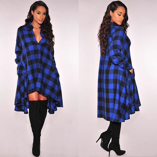 45709b1f54 2016 Fashion Women plaid shirt dress blue black black white red and black three  colors optional loose cotton long-sleeved Tops