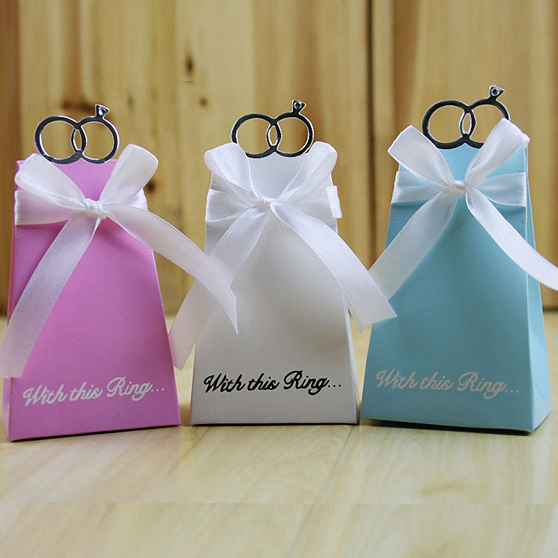 Rustic Wedding Decoration Dress Shape Candy Box With Metal Ring