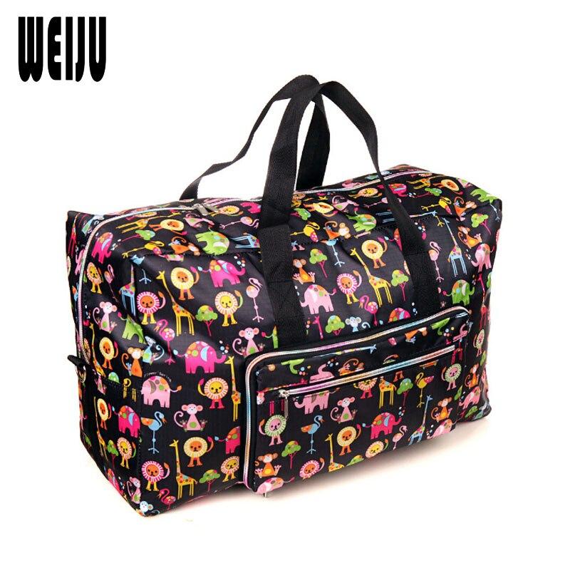 WEIJU Women Travel Bag Large Capacity Folding Shoulder Bags for Women 2017 Waterproof Printed Tote Bag