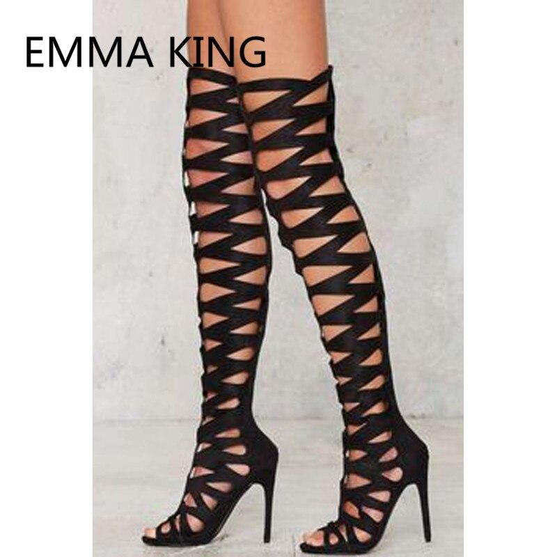 2019 новый сексуальный Для женщин над коленом Римские сандалии с открытым носком; открытые, на высоком каблуке Дамская мода Модная обувь женские сандалии сапоги - 3