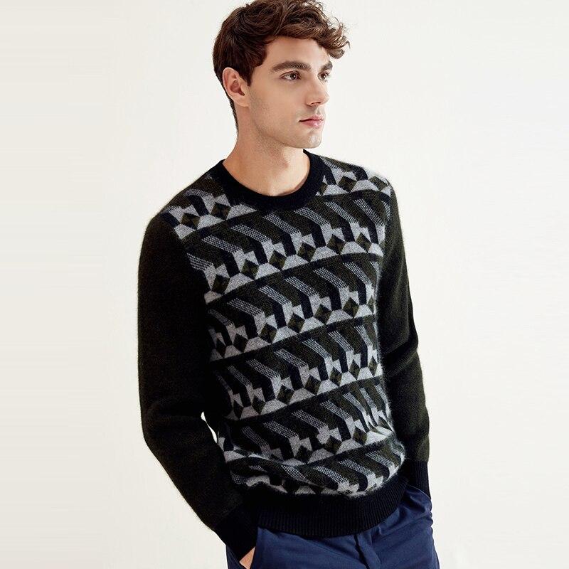 ZHILI 2018 New Autumn Winter Round Neck With Irregular Pattern Cashmere Sweater