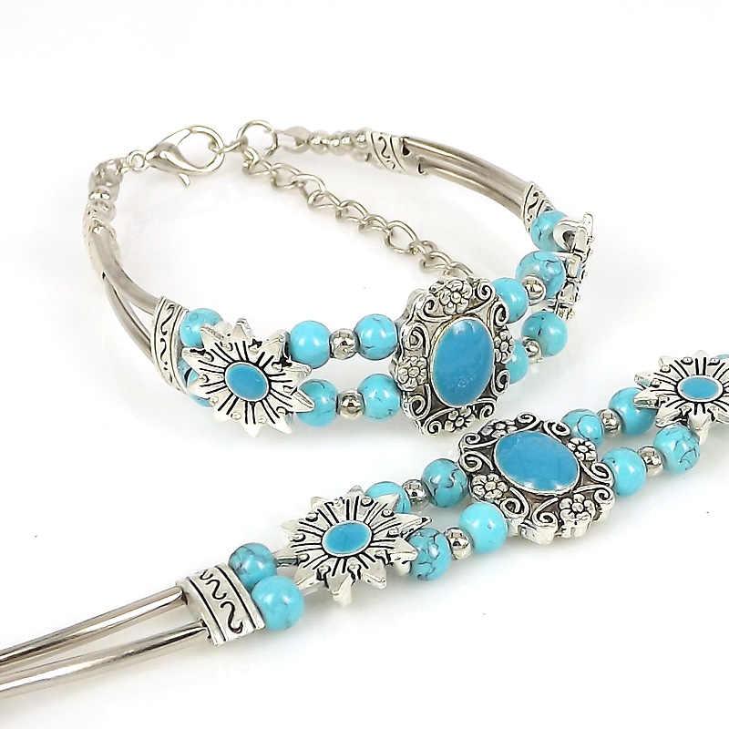 Olaru Vintage stone Bracelets for Women Silver Chain Blue Boho Bohemian Bracelet with Stones Bohemian Jewelry Gift ZA-069