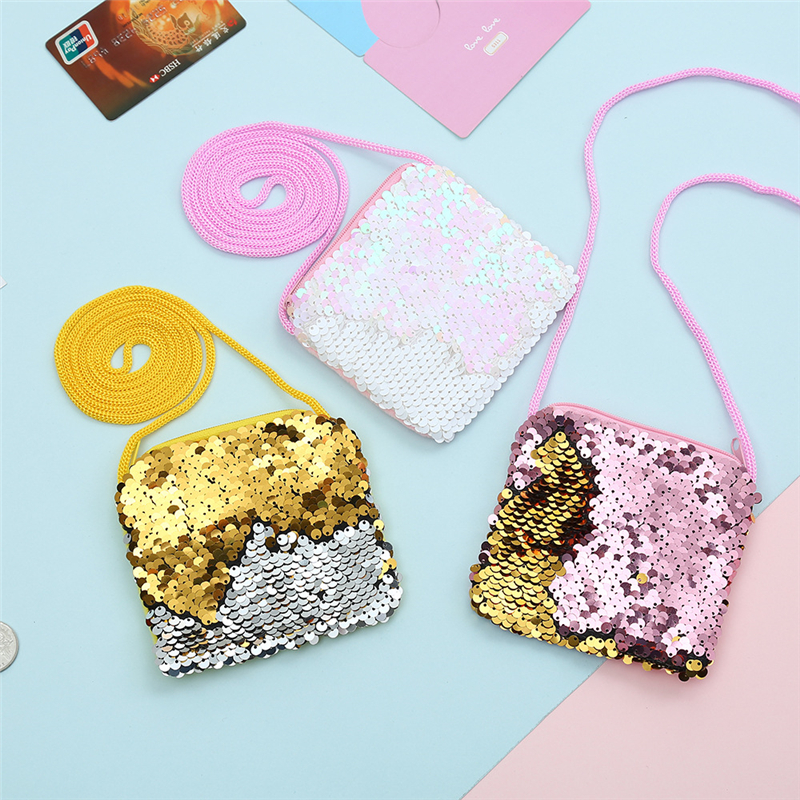 New Fashion Sequins Coin Purse Wallet Kids Girl Glittering Purse Women Earphone Package Handbag Party Zipper Clutch Bag in Coin Purses from Luggage Bags