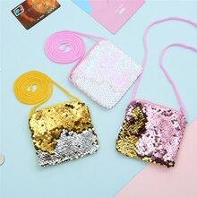 New Fashion Sequins Coin Purse Wallet Kids Girl Glittering Women Earphone Package Handbag Party Zipper Clutch Bag