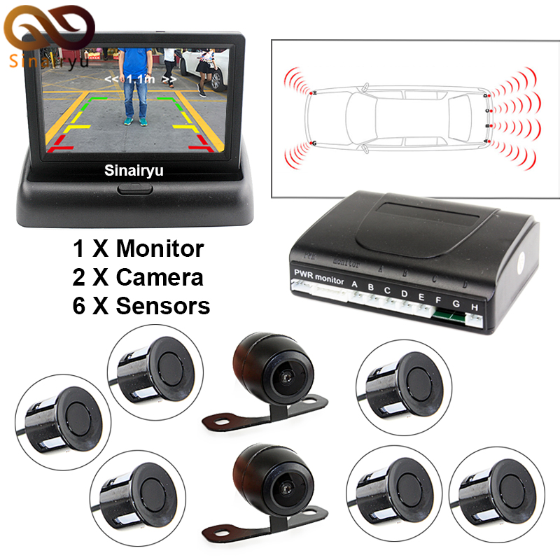Sinairyu 3 in1 Auto Video  Mirror Folding Parking Monitor With Parking Sensors Camera, Sound Alarm and Display Distance koorinwoo car parking sensors 6 alarm