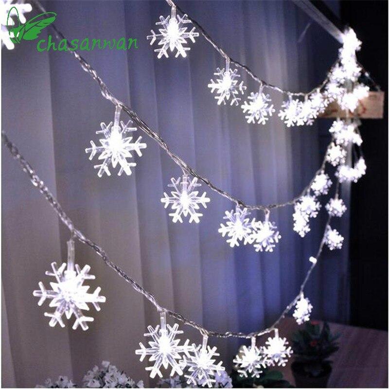 Chasanwan 3 м 20 свет строка Батарея коробка Снежинка Led новогоднее; рождественское Аксессуары для дома Новое поступление на Новый год Украшения Navidad. b