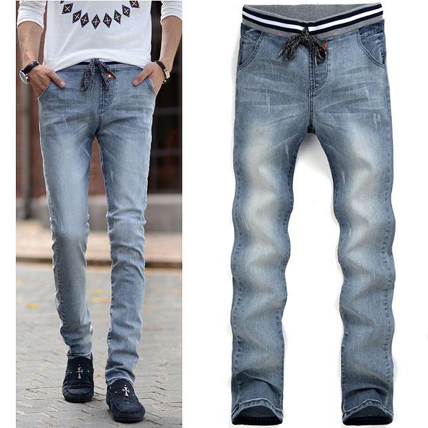 Online Shop Free Shipping 2015 male unique blue jeans mens Elastic ...