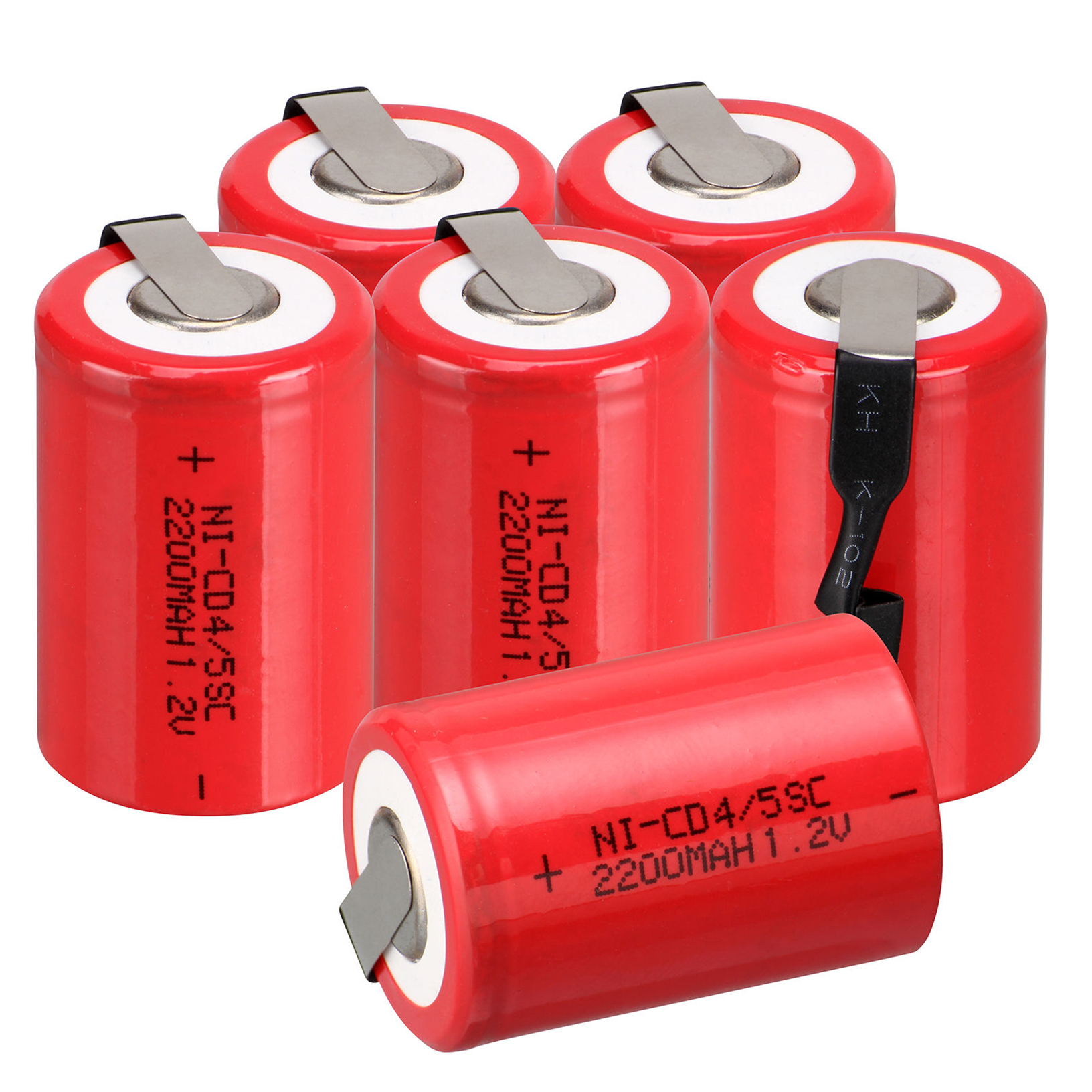 2/6/12/16pcs NiCd 4/5 SubC Sub C 1.2V 2200mAh & Tab Red Ni-Cd Rechargeable Battery Red