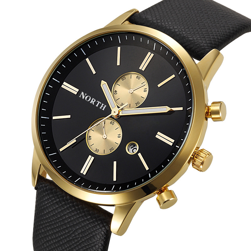 NORTH Luxury Quartz Men Watches 30M Waterproof Male Business Wristwatch Fashion Casual Genuine Leather Strap Men's Dress Watch
